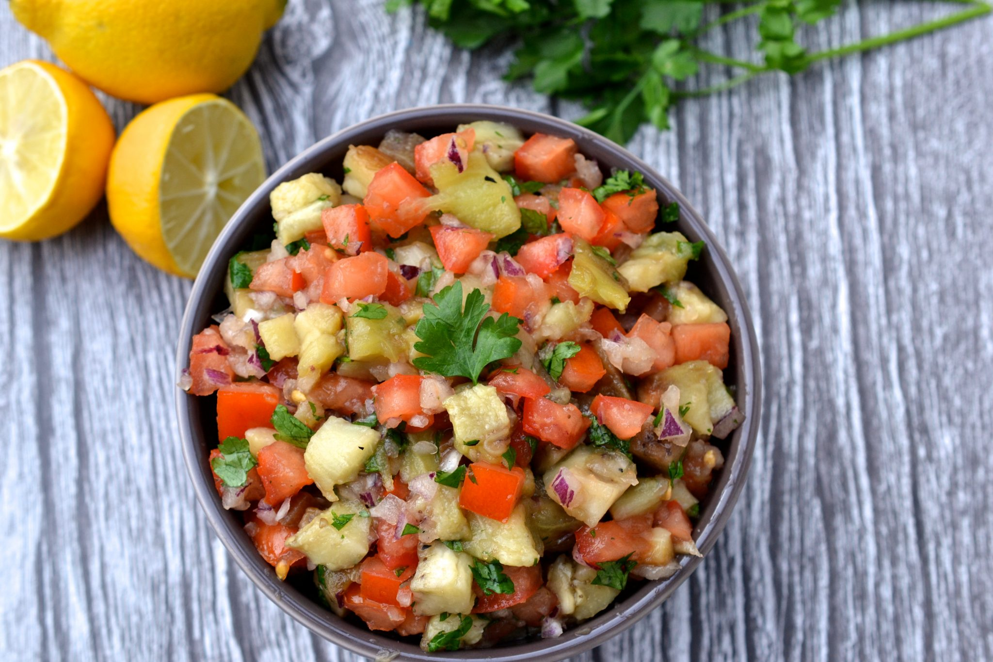 Smoky Eggplant & Tomato Salad | Every Last Bite