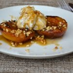 Grilled Nectarines with Salted Caramel Sauce & Coconut Cream