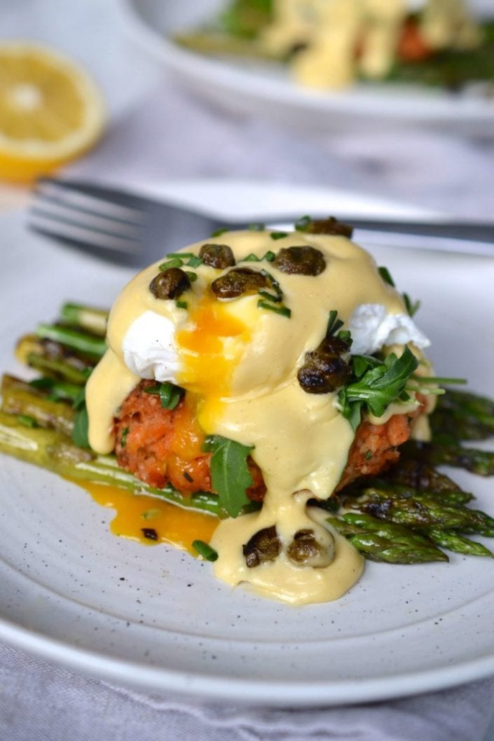 Salmon Cake Eggs Benedict with Lemon Hollandaise & Crispy Capers