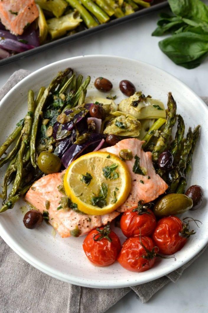Salmon Nicoise Traybake Salad
