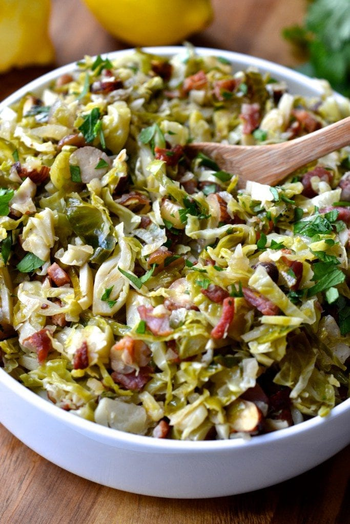 Shaved Brussel Sprouts with Bacon, Hazelnuts and Lemon