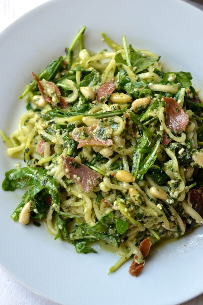 Pesto Zoodle Salad with Prosciutto & Pine Nuts