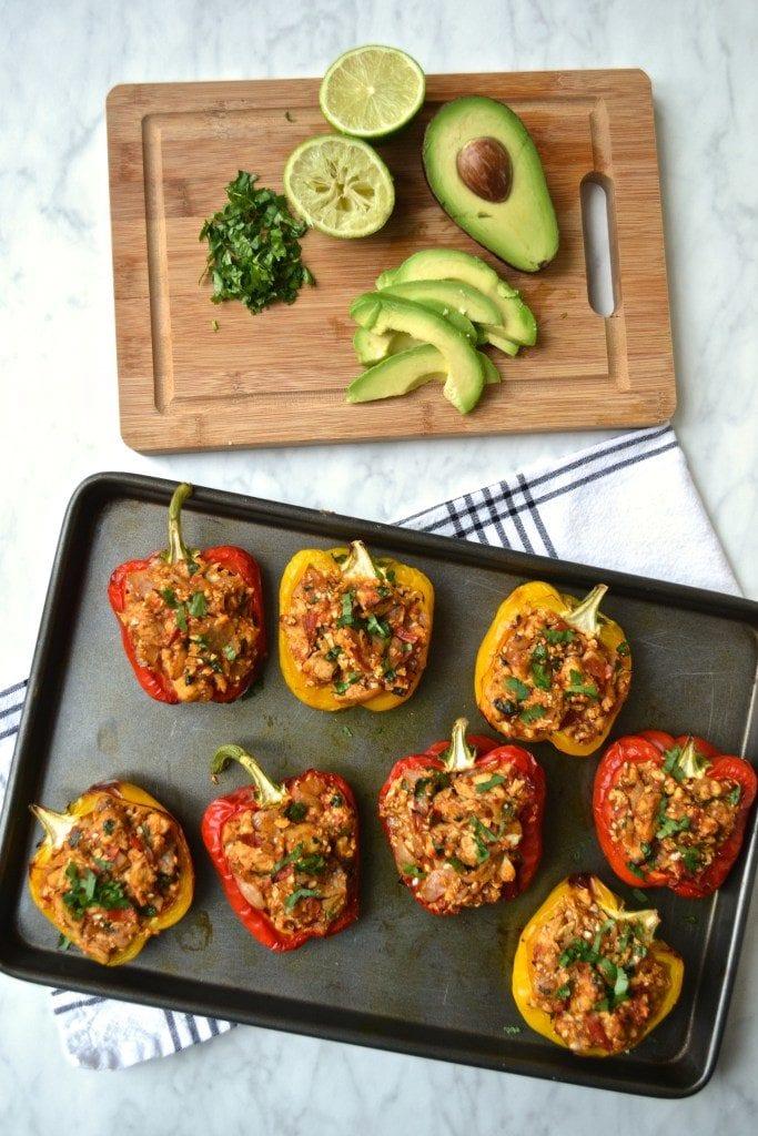 Mexican Cauliflower Rice & Chicken Stuffed Peppers
