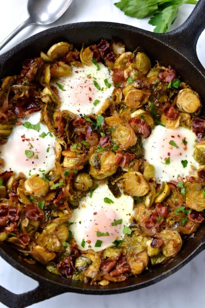Brussels Sprout & Bacon Hash with Eggs