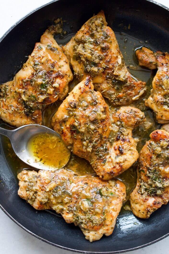 Seared Chicken Thighs in Garlic & Herb Sauce