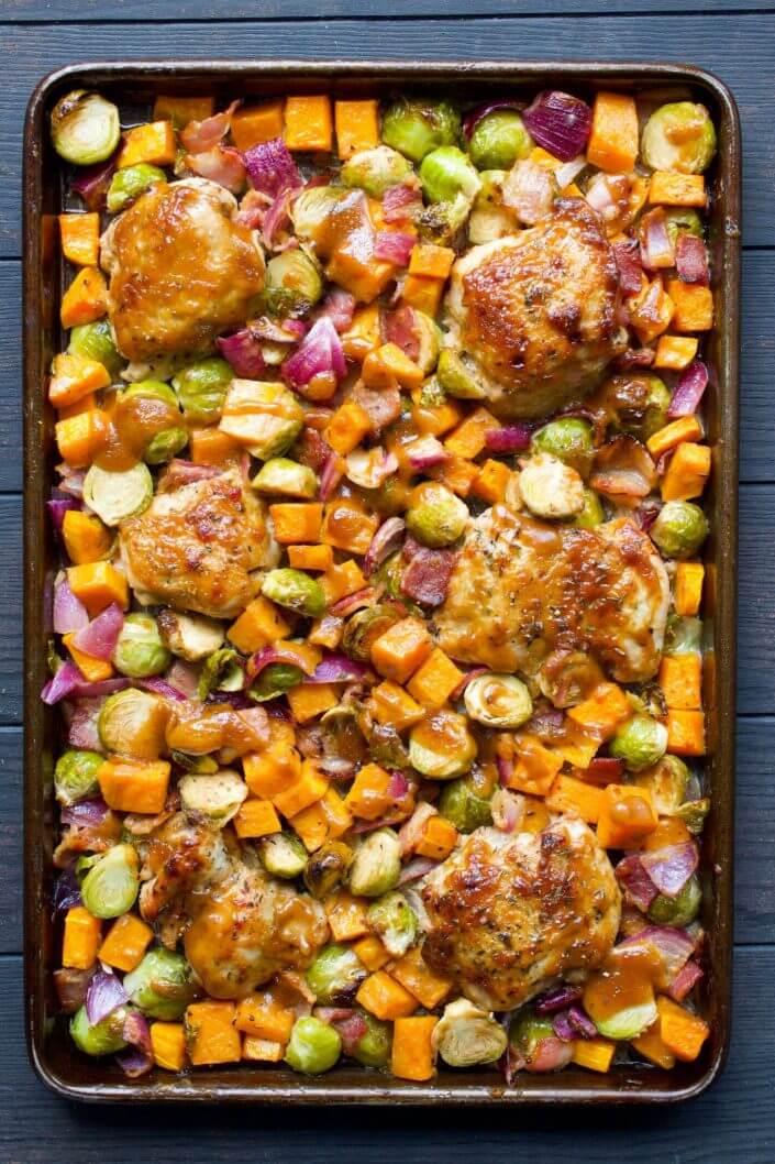 Sheet Pan Chicken with Balsamic Dijon Sauce