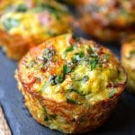 Ham, Spinach & Cauliflower Rice Breakfast Muffins