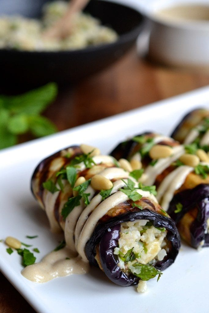 Herby Couscous Stuffed Eggplant Rolls