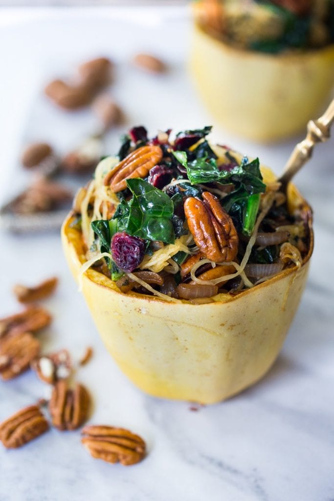 Stuffed Spaghetti Squash with Pecans, Kale & Dried Cranberries