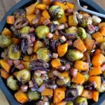 Sheet Pan Roasted Brussel Sprouts, Butternut Squash, Bacon & Red Onion