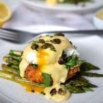 Salmon Cake Eggs Benedict with Lemon Hollandaise & Crispy Capers