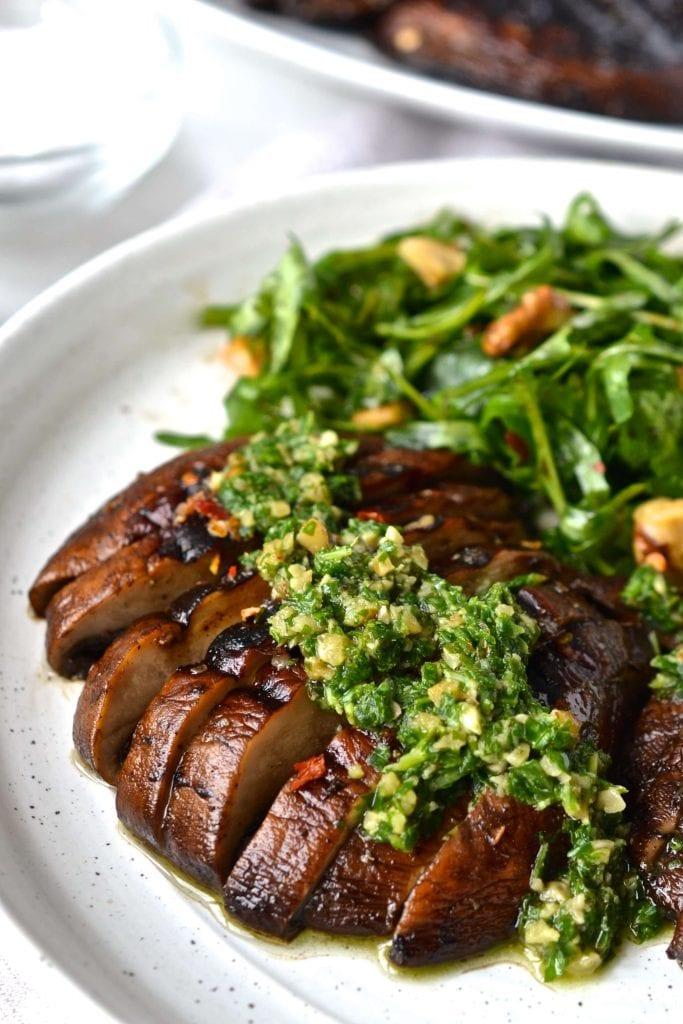Grilled Portobello Mushrooms  with Arugula | Every Last Bite