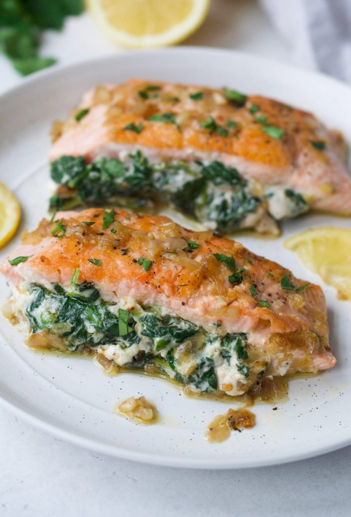 Easy Spinach Stuffed Salmon Every Last Bite