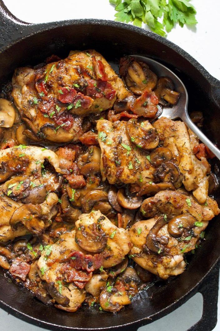 Garlic Mushroom & Bacon Chicken Thighs