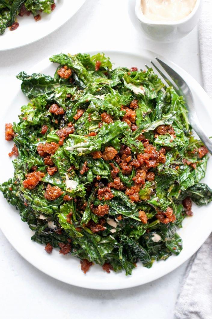 Grilled Kale Caesar with Crispy Chorizo
