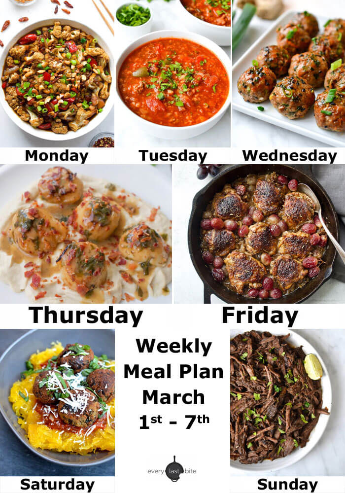 Weekly Meal Plan: March 1-7
