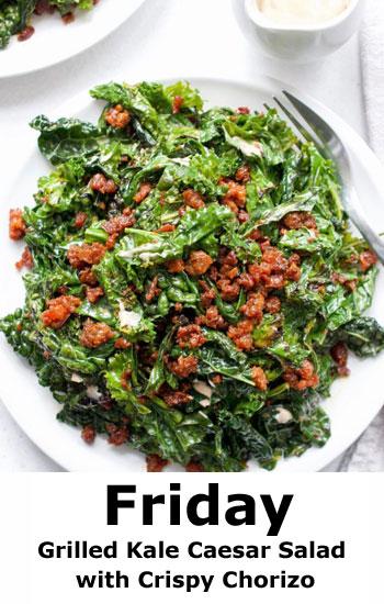 Grilled Kale Caesar Salad with Crispy Chorizo