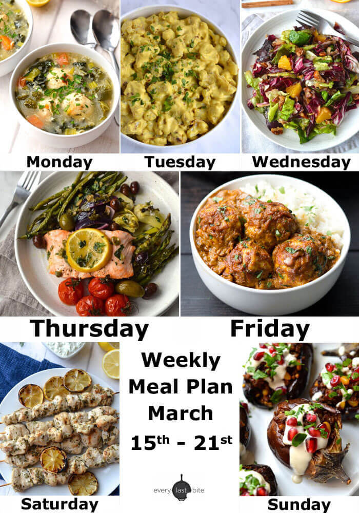 Weekly Meal Plan: March 15th - 21st