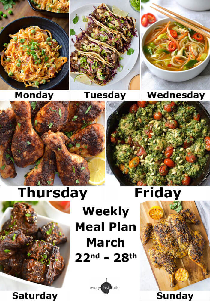 Weekly Meal Plan: March 22nd - 28th