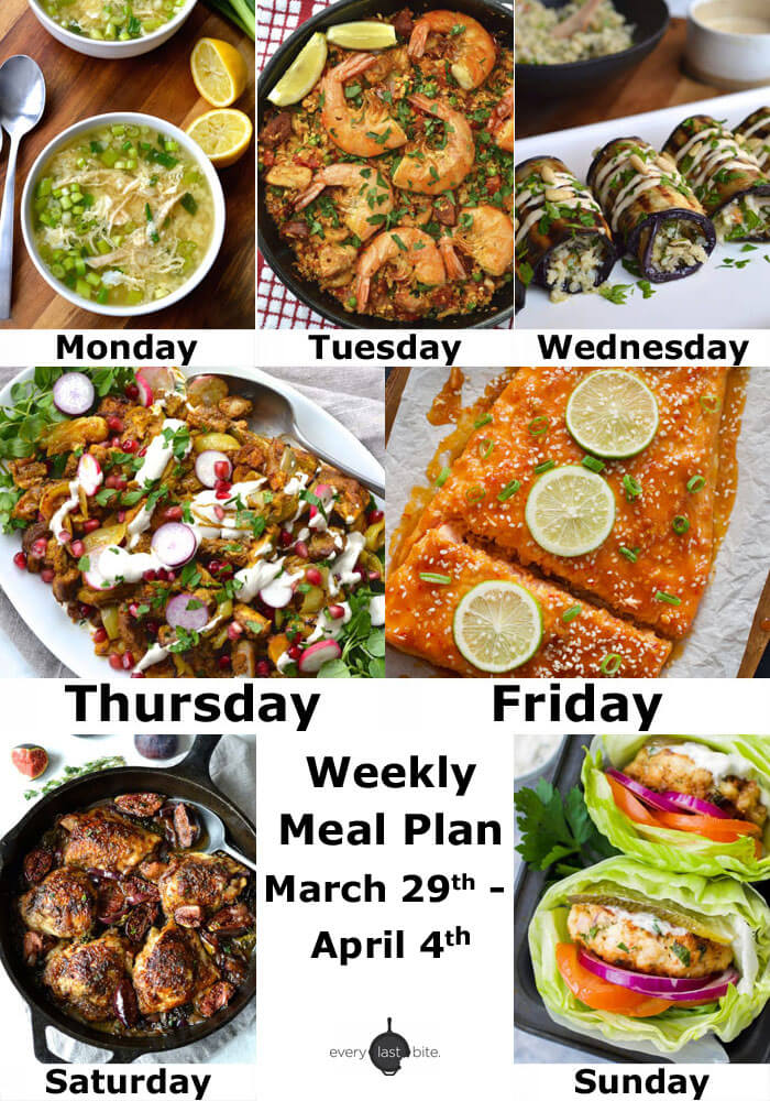Weekly Meal Plan March 29th - April 4th