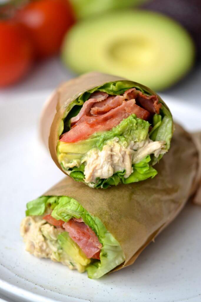 BLT Chicken Lettuce Sandwich Wraps