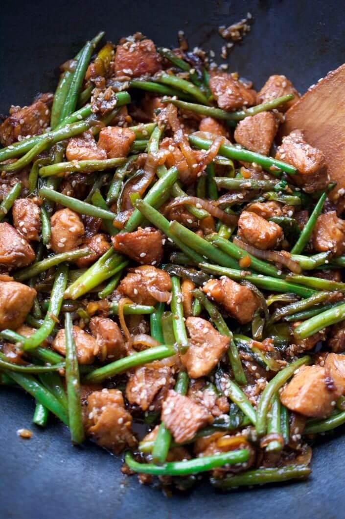 Simple Green Bean, Chicken & Ginger Stir Fry