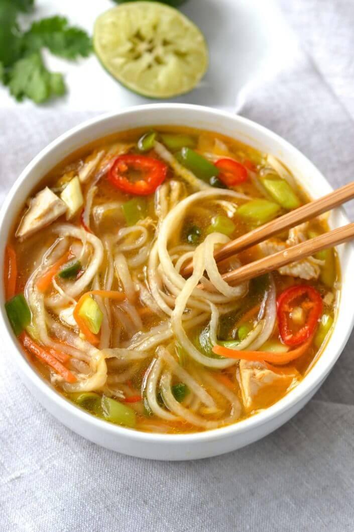 Spicy Chicken & Veggie Noodle Soup