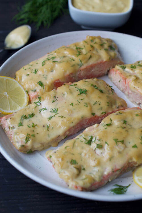 Creamy Honey Mustard Baked Salmon