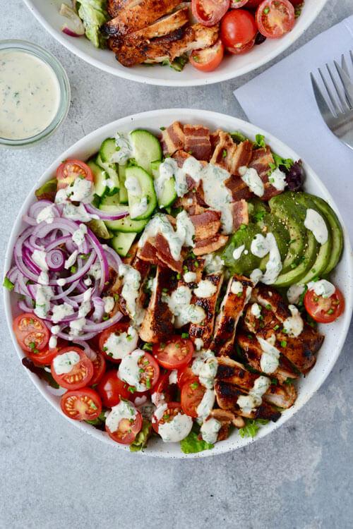 Chicken, Avocado & Bacon Salad with Ranch Dressing