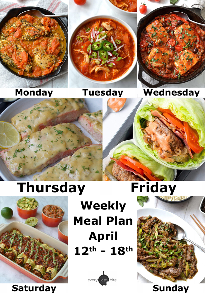 Weekly Meal Plan: April 12th - 18th
