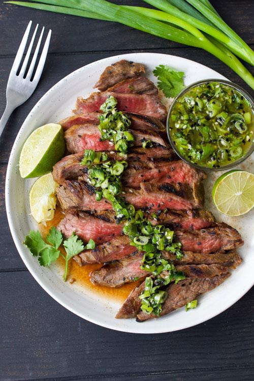 Grilled Skirt Steak with Asian Salsa Verde