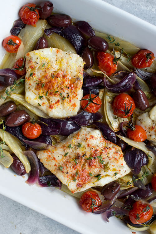 Sheet Pan Roasted Cod with Fennel, Olives, Red Onion & Tomatoes