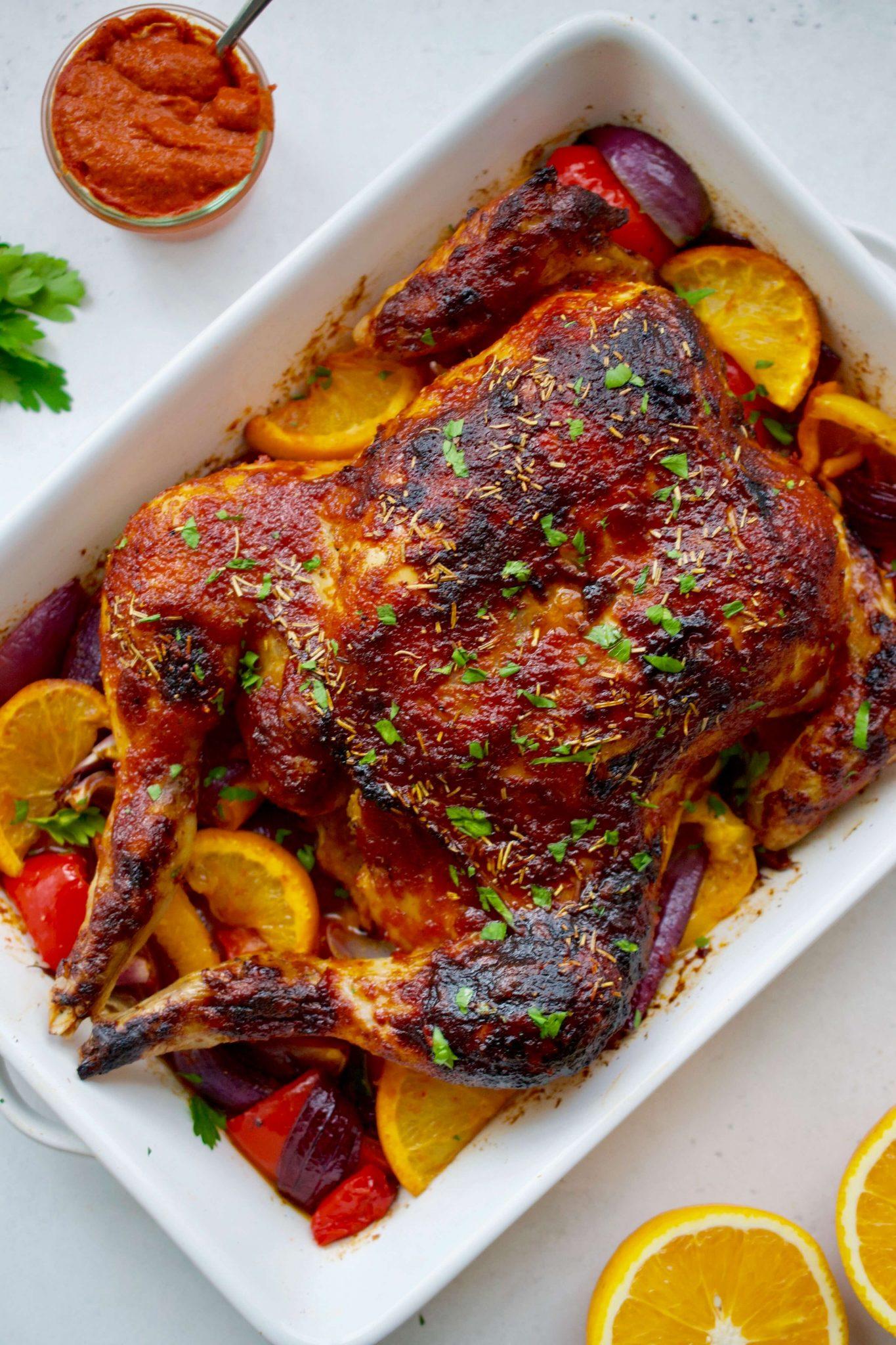 Harissa & Orange Spatchcock Roast Chicken
