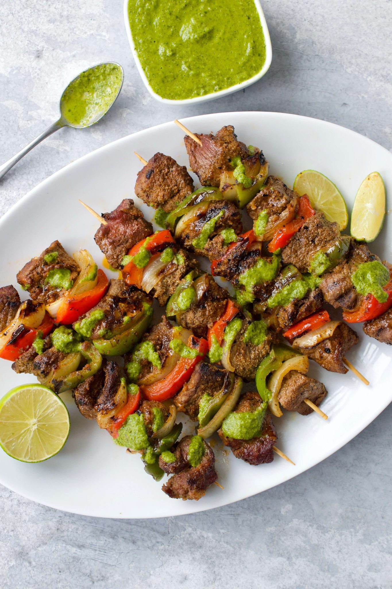 Steak Fajita Skewers with Cilantro Chimichurri