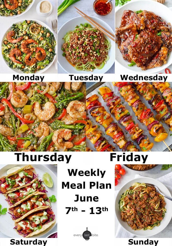 Weekly Meal Plan June 7th - 13th